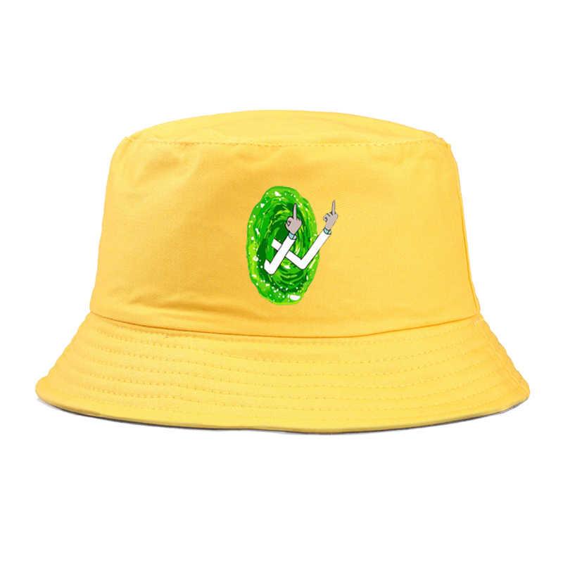 Estate Pieghevole rick morty Cappelli della Benna di stampa per gli uomini Hip Hop Spiaggia di Protezione Solare Pescatore Cap divertente dito medio panama cappello delle donne