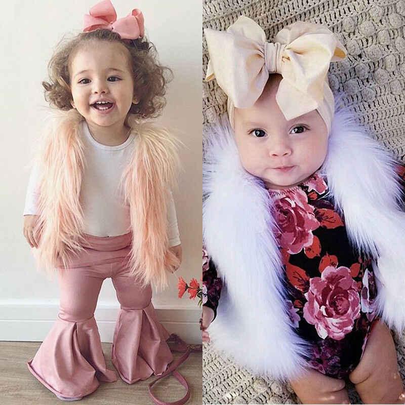 Sonbahar kış çocuk bebek kız taklit kürk yelek yelek çocuk sıcak tutan kaban dış giyim ceket üst yay katı sevimli çocuk kız giyim