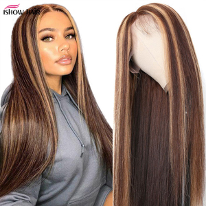 Image 1 - Ishow Ombre Highlight Wig Brown Honey Blonde Colored  Indian Whole Lace Front Human Hair Wigs Straight 13X4X1 Lace Frontal Wig