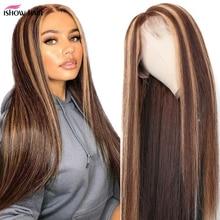 Ishow peluca con encaje Frontal ombré resaltador, peluca de cabello humano liso, 13x4x1, marrón, rubio miel, de color indio