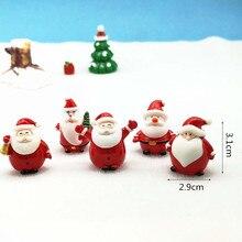 5pc Santa Claus Snowman Christmas Figurine Model Bonsai Garden Fairy Decor Glass DIY Accessories Home Decoration Miniature Craft