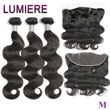 Lumiere Body Wave Bundles With Closure Brazilian Hair Bundles With Frontal Human Hair Frontal With Bundle Remy Hair Extension(China)