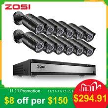 ZOSI 16CH 1080 P 2MP Su Geçirmez Kapalı/Açık Uzaktan Görünümü Video Gözetim Güvenlik Sistemi ile 12 PCS bullet kamera DVR kiti