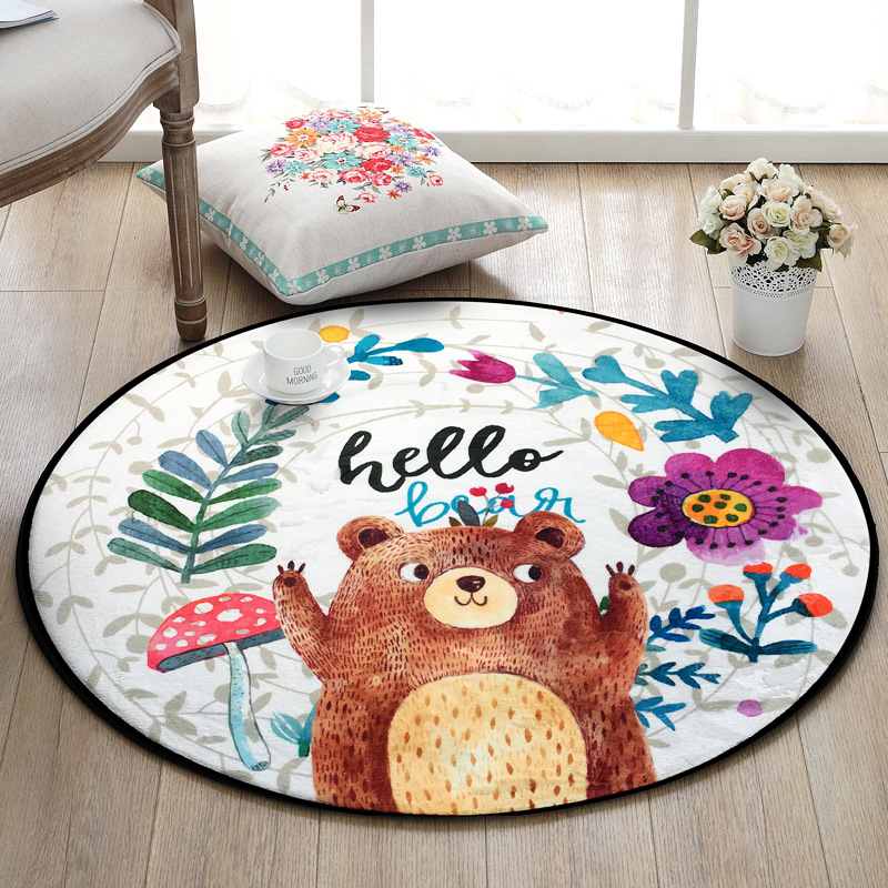 Kids Play Rug Cute Cartoon Bear Rug Backing Great For Nursery Baby,Parfect Gift For Kids Bedroom Play Room Classroom
