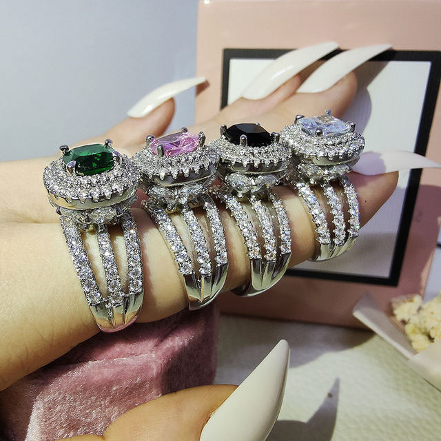 Trendy Luxury Big 925 Sterling Silver Engagement Ring For Women And Ladys Christmas Gifts With Cushion Zirconia Wedding R4898 2