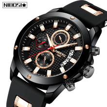 Nibosiレロジオmasculino男性腕時計トップブランドの高級ユニークなスポーツ腕時計メンズクォーツ時計防水シリコーンストラップmontreオム