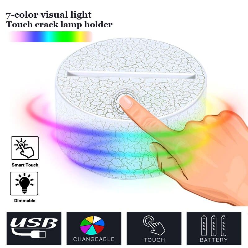 Luminous Light Base Crack Pattern 3D 7 Color LED DC 5V Display Indoor Home Gift Wedding Decor Ornament Lighting Fixture