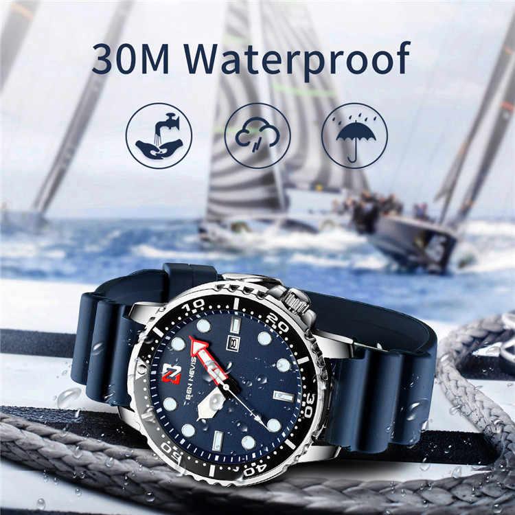 ベンネイビストップ高級ブランドファッションメンズスポーツクォーツ腕時計シリコンストラップカレンダー腕時計男性ギフト時計レロジオ Masculino