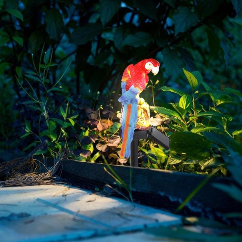 Garden Solar Power LED Lamps Parrot Shape Lights Waterproof Outdoor Clamp Decor
