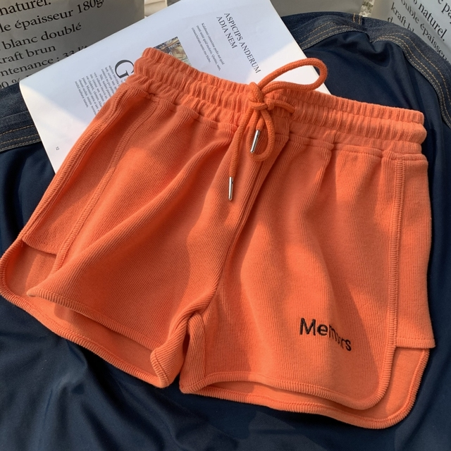Hot summer All-match Women Short Pant Casual Lady Loose Letter embroidery Leisure Female Workout Waistband Skinny Stretch Shorts 5