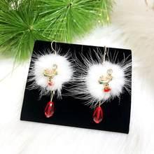Donne Orecchini Di Natale Babbo natale Pupazzo di Neve Prugna Palla di Peluche Bianco Orecchino di Cristallo Rosso Ciondolo Orecchini Lunghi Nappe Gioielli