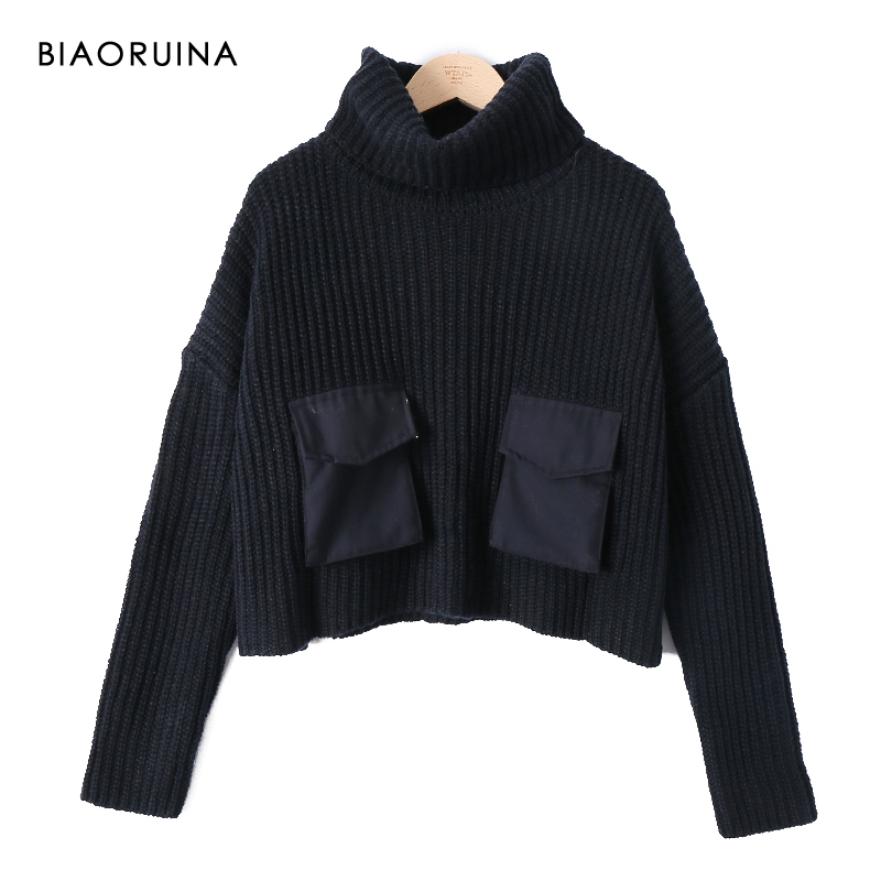 BIAORUINA Women's Black Casual Short Knit Turtleneck Sweater Patchwork Pockets Female Fashion Oversized High Waist Pullover