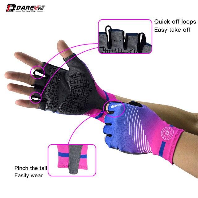Darevie metade do dedo luvas de ciclismo gel almofada à prova de choque luvas ciclismo respirável bicicleta sem velcro ciclismo luvas estrada mtb 4