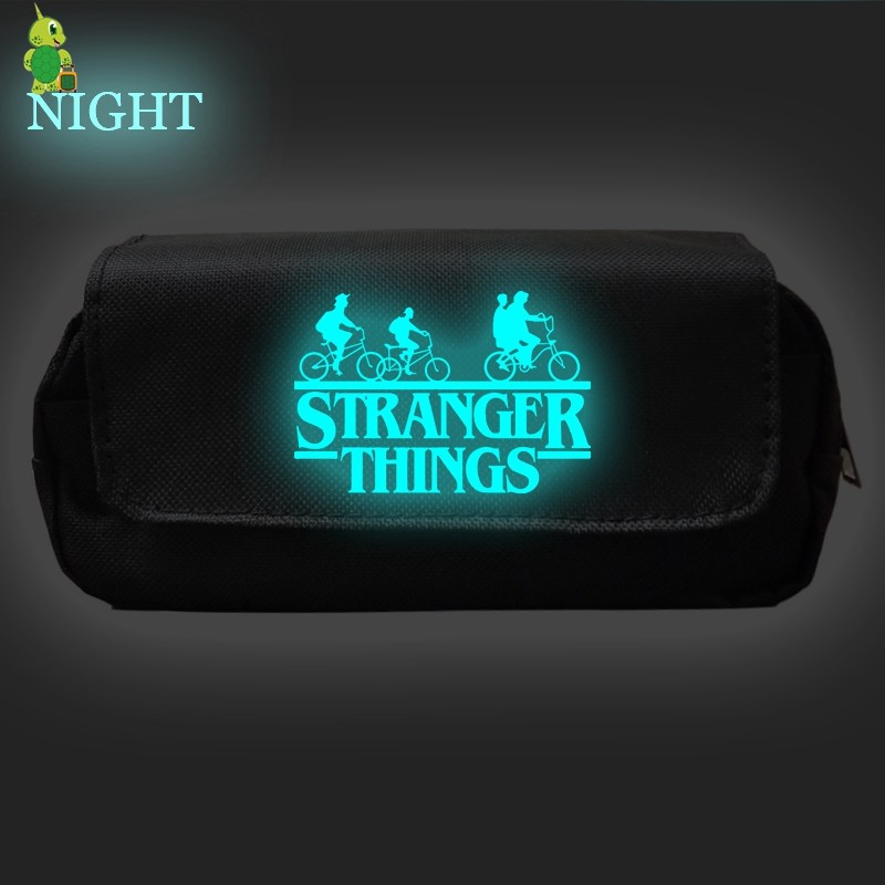 Stranger Things Pencil Case Double Layer Makeup Bags Cosmetic Case For Boys Girls Storage Bags Purse Oxford School Supplies