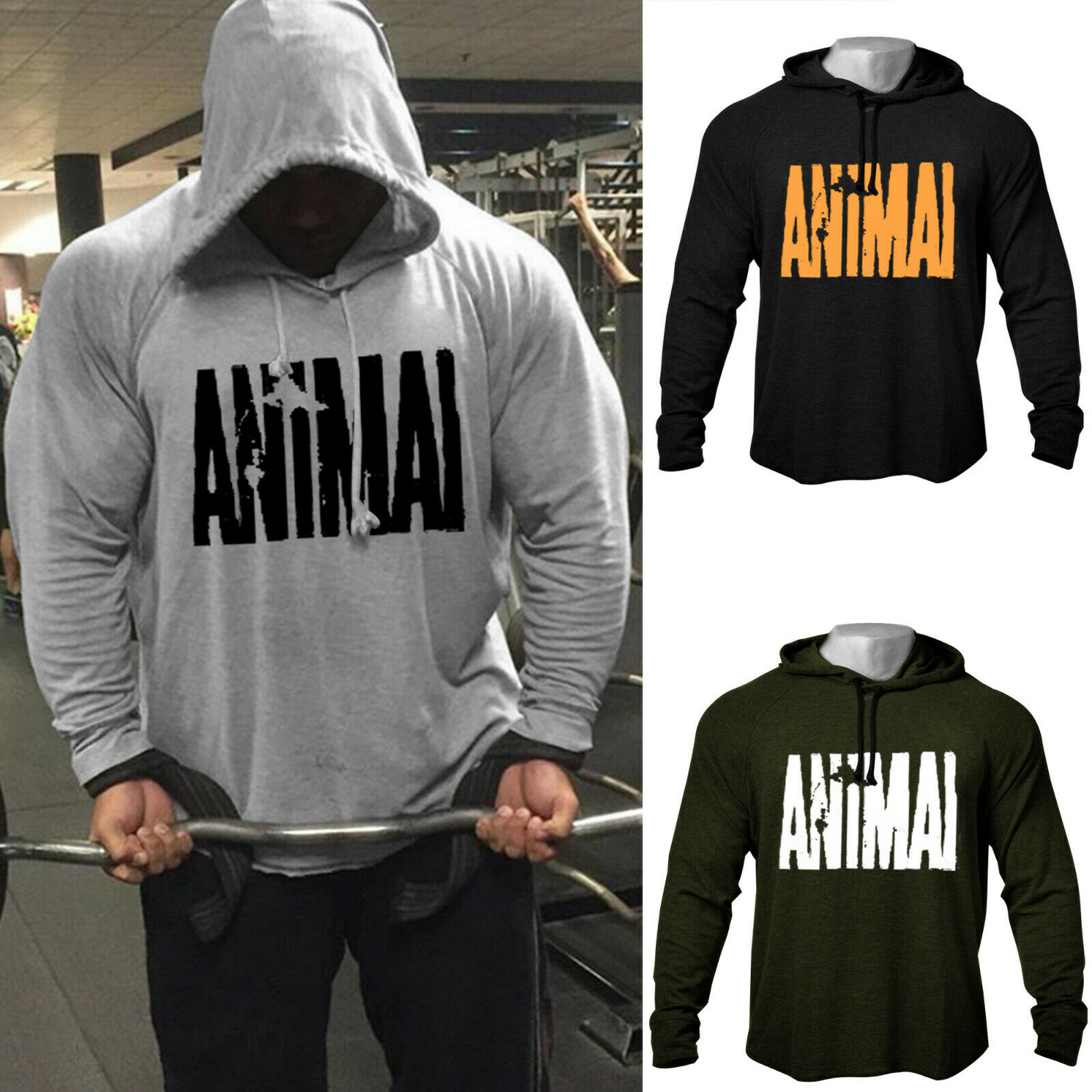 "Men's GYM Workout Print ""ANIMAL"" Bodybuilding Cotton Raglan Hoodies Sweatshirts Raw-Cut&Hem-Cut Hoodies Tracksuit Top"