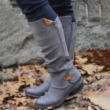 New Fashion Winter Comfort Boots Women Side Zipper Sexy High Heels Shoes Chelsea Knee-High Botas Mujer