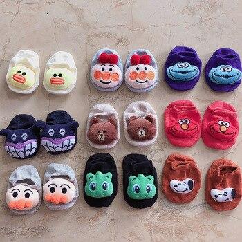 Calcetines de algodón para bebés, Calcetines antideslizantes para niños y niñas, Calcetines antideslizantes de dibujos animados para primavera y verano para recién nacidos, calcetines bonitos de Color sólido 0-2T