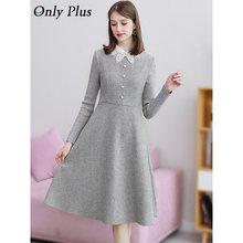 Apenas mais inverno de lã do vintage vestido cinza a linha elegante magro rendas acima vestidos botão quente senhora escritório joelho feminino