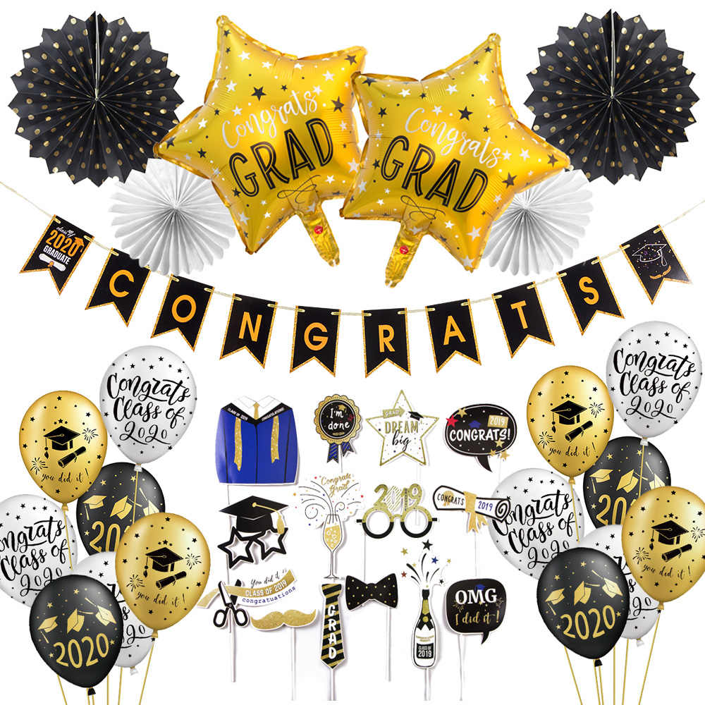 2020 Graduation Decorations.2020 Graduation Decorations Congrats Banner Foil Balloons Class Of 2020 High School Bachelor Prom Party Decorations