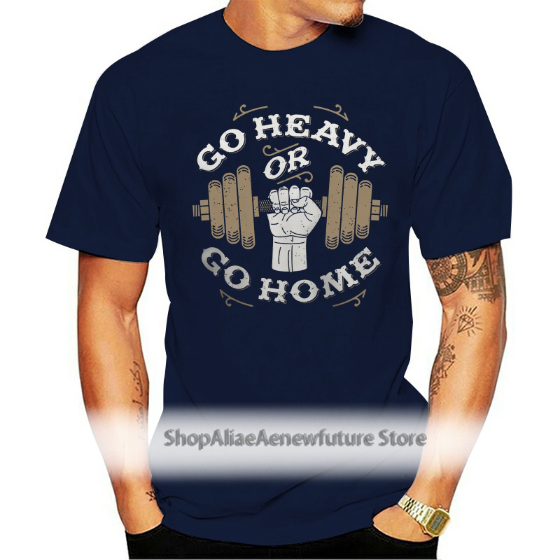 Weight Lifting Gym Rat Athletic Dumbell GO HEAVY OR GO HOME Mens Brown T-Shirt