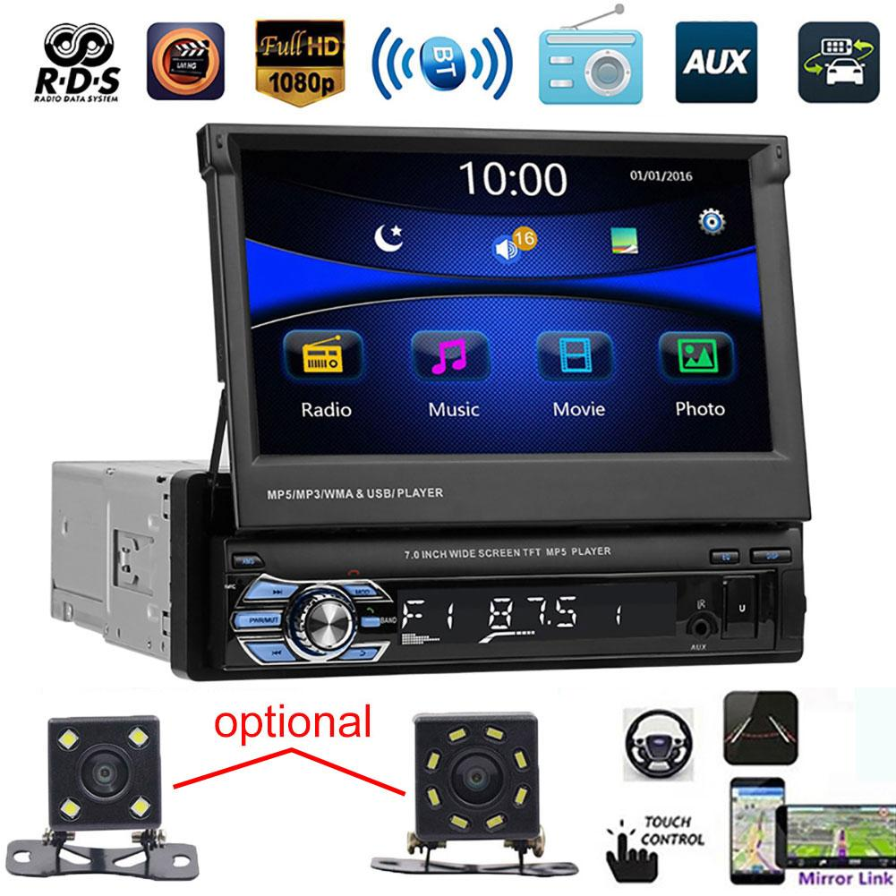 bluetooth coche Car Radios 9601 7 Inch Bluetooth Car FM Radio Audio Video MP5 Player with Rearview Camera фм модуляторы image