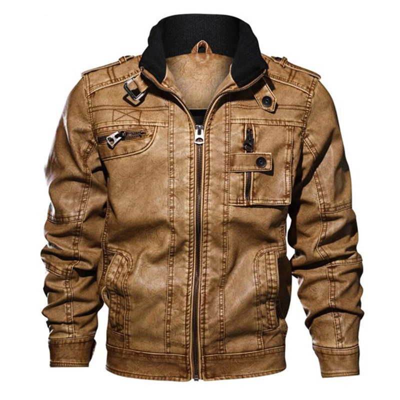 2019 Autumn And Winter New Style Men Stand Collar PU Leather Coat Large Size Leather Jacket Locomotive Men's