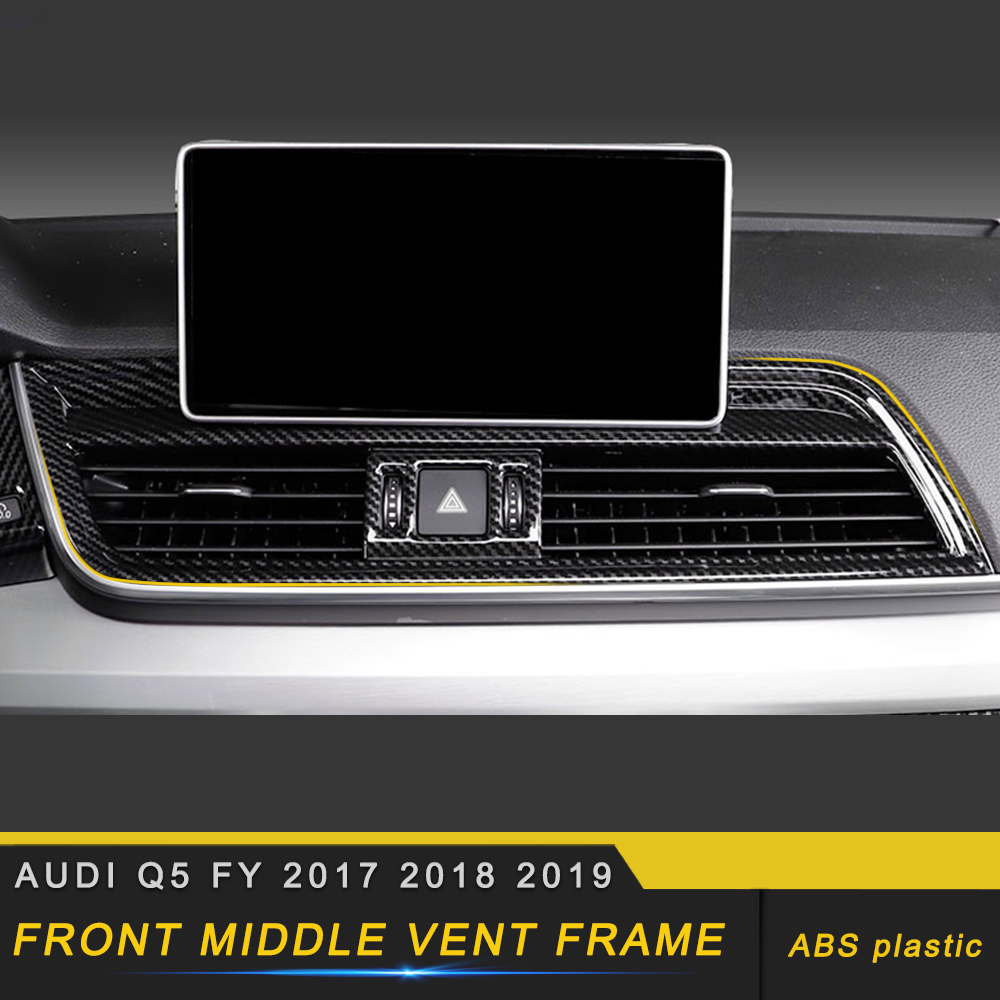 Car Accessories Center Air Vent Outlet Cover Trim Frame Sticker ABS Carbon Interior Decoration For Audi Q5 FY 2017 2018 2019