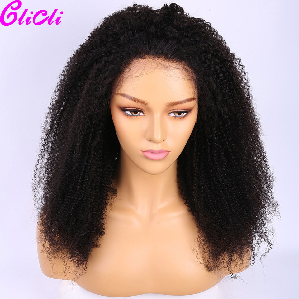 Mongolian Afro Kinky Curly Wig 13x4 Transparent Lace Front Human Hair Wig For Women Pre Plucked Remy 360 Lace Frontal Wig 150