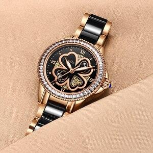 Image 4 - Reloj de oro rosa para mujer, relojes de cuarzo para mujer, reloj de pulsera femenino, regalo para esposa y caja