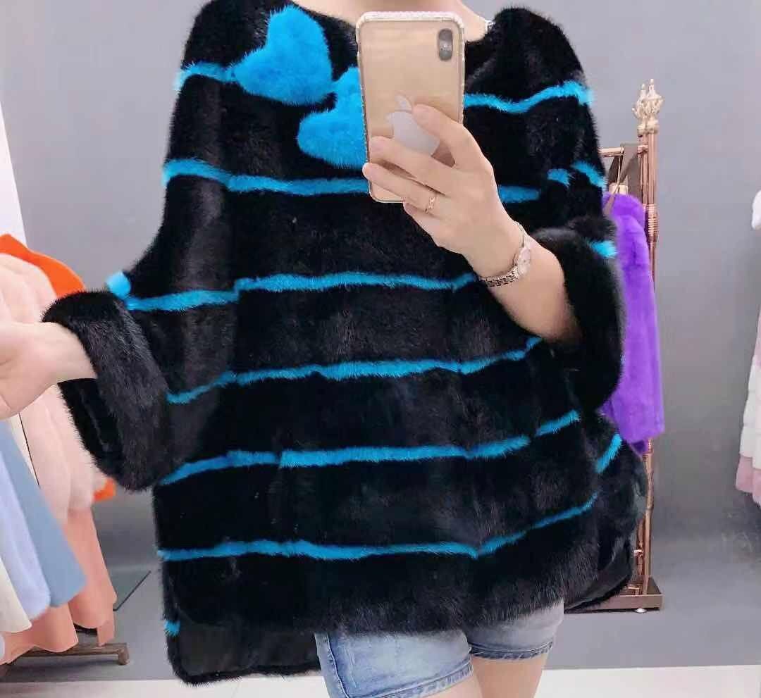 Nouveau manteau de fourrure de vison naturel pour femmes