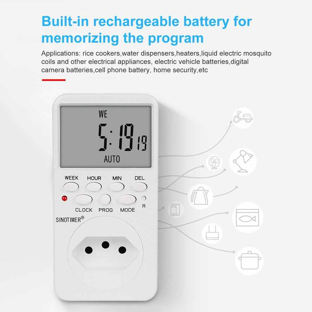 SINOTIMER TM519 7 jours hebdomadaire LCD numérique Programmable interrupteur prise minuterie prise temps relais interrupteur contrôle EU/US/UK/IT/BR/IL