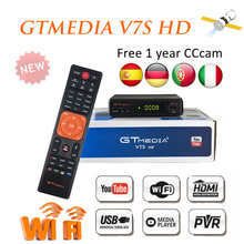 цена GTMEDIA V7S HD Satellite Receiver HD Full 1080P DVB-S2 HD + free 1 year Ccam Support  PowerVu DRE USB WIFI TV satellite receiver