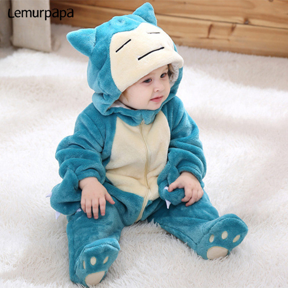 Image 3 - Snorlax Onesie Baby Romper Infant Cute Clothes 0 2 Y New Born Boy Girl Klgurumis Cartoon Funny Costume Pajama Soft Warm OutfitRompers   -