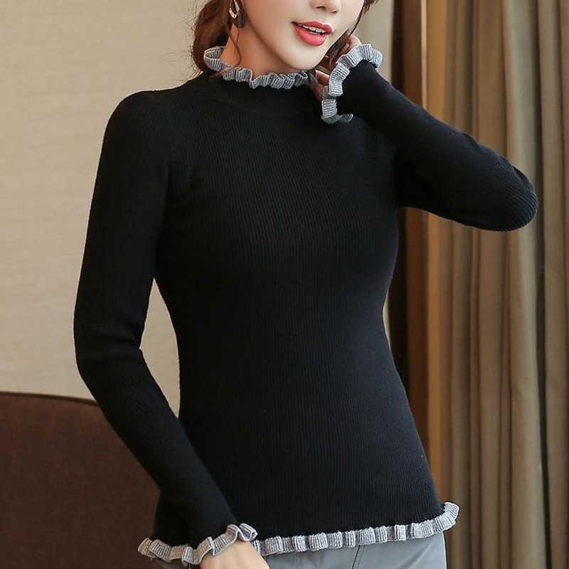 Sweater Wanita dan Pullovers 2019 Wanita Lengan Panjang Turtleneck Gaun Pullover Suar Lengan Ruched Femininas 6351 90