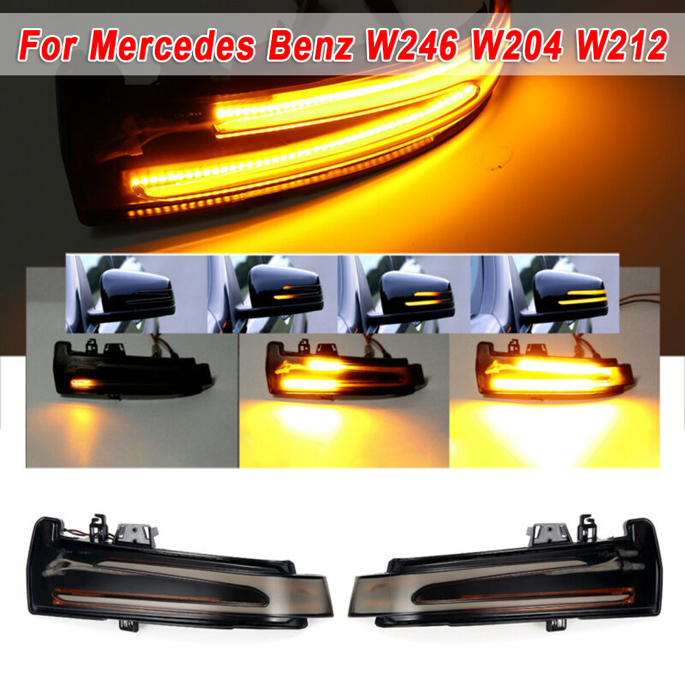 Car Yellow Dynamic LED Rearview Mirror Indicator Light <font><b>12V</b></font> For <font><b>Mercedes</b></font> Benz W176 W246 W212 W204 CLA C117 GLA GLK W221 CLS W218 image