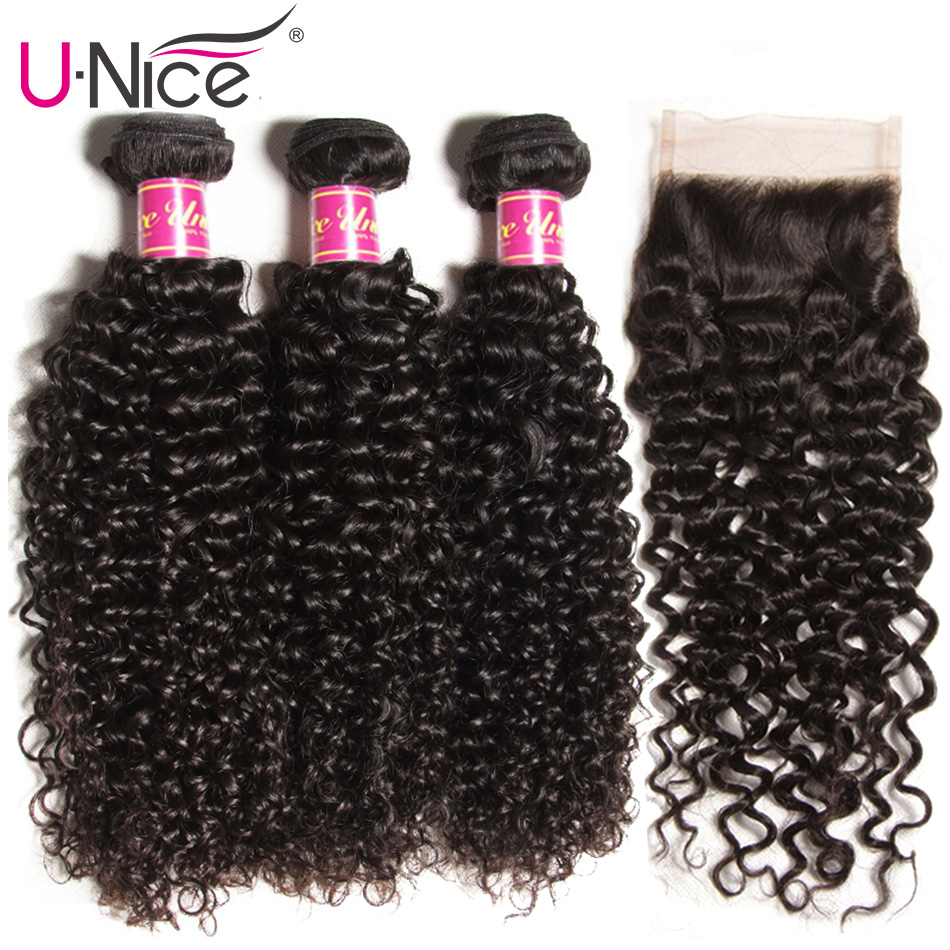 UNice Hair Curly Weave Human Hair With Closure 4/5PCS Brazilian Remy Hair Weave Bundles with Closure Swiss Lace Hair-in 3/4 Bundles with Closure from Hair Extensions & Wigs