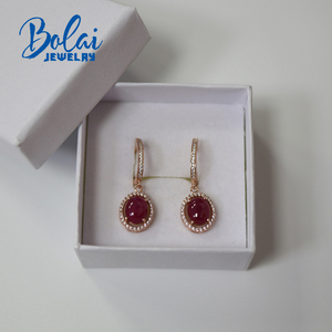 Image 5 - Created starlight ruby clasp earring 925 sterling silver rose gold color fine jewelry for girls gift bolaijewelry promotion
