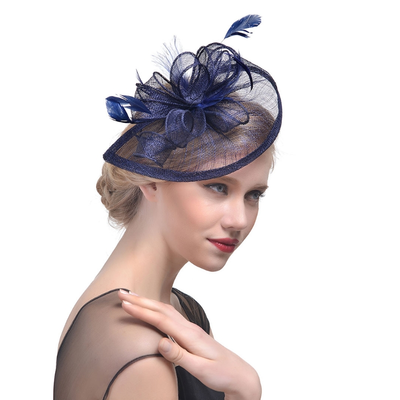Women Wedding Hat Fascinator Feather Mesh Party Cocktail Headdress Hair Clip New 634D