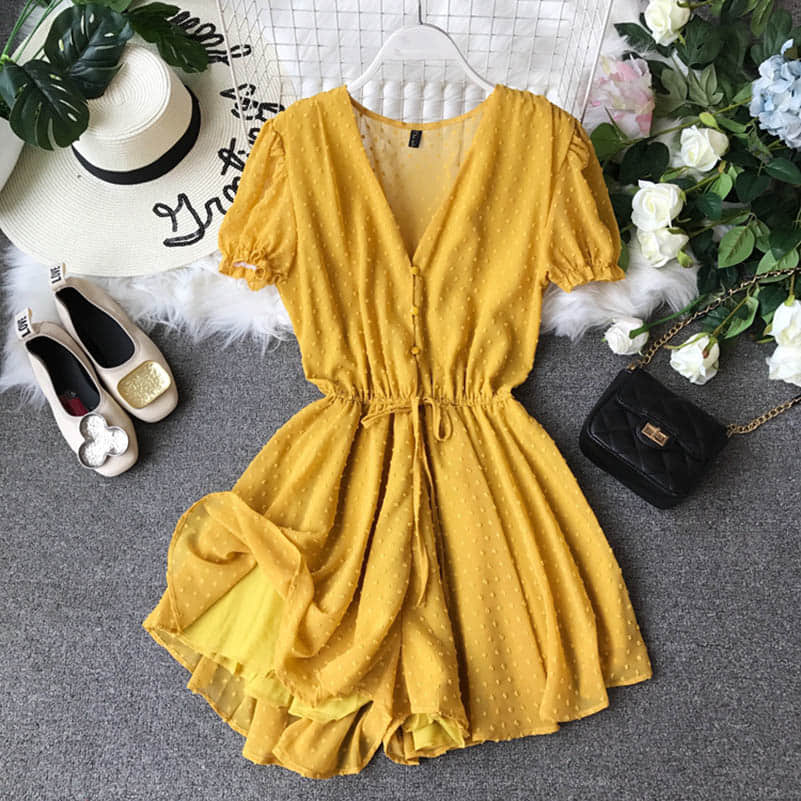 Hf42e4167ed7d4ef1925fa0d6a45e1ce5N - Candy Color Elegant Jumpsuit Women Summer Latest Style Double Ruffles Slash Neck Rompers Womens Jumpsuit Short Playsuit