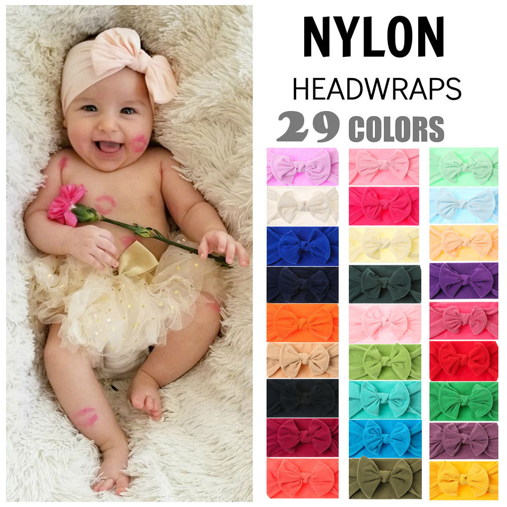 29 Colors Nylon Headbands for Baby Girls Kids Soft Bows Knot Turban Hair Bands Baby Hair Accessories Children Headwear