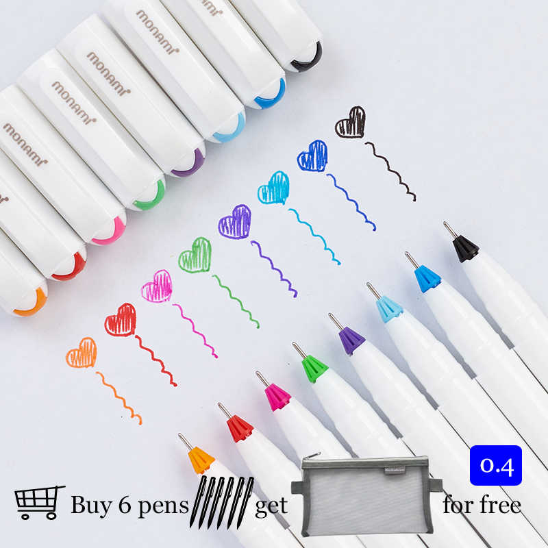 Korea monami 0.4 mm Gel Pen Metal Tip Drawing Pen For Doodle Sketch Painting 8 Colors Available 208