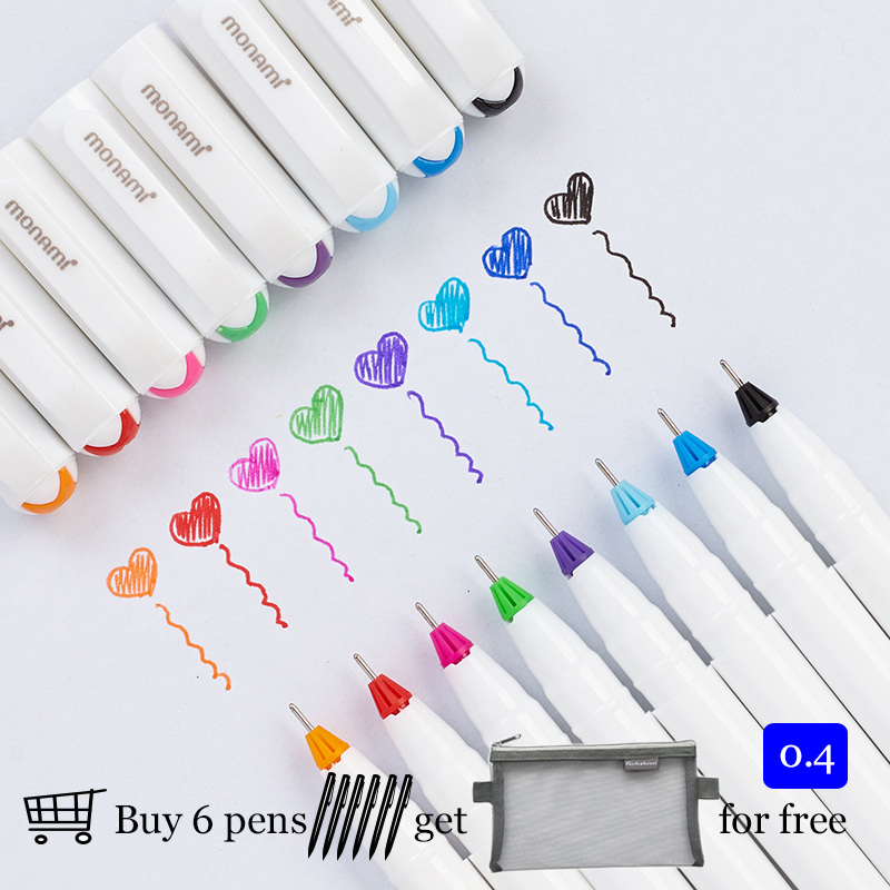 Korean Monami 0.4 Mm Gel Pen Metal Tip Drawing Pen For Doodle Sketch Painting 8 Colors Available 208