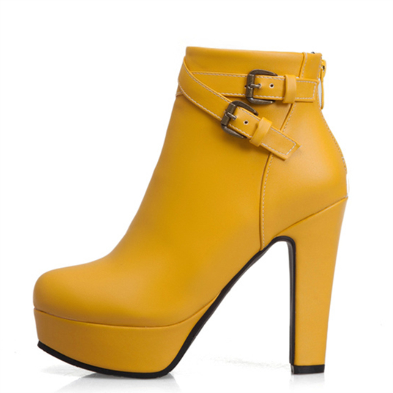 Plus Size 48 New Fashion Women's Boots Sexy High Heels Platform Ankle Boots For Women Black Red Yellow White Heels Shoes Ladies