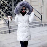 Fur collar winter coat ladies thick warm hooded long jacket women elegant slim white cotton parka women outwear 2019 new DR653