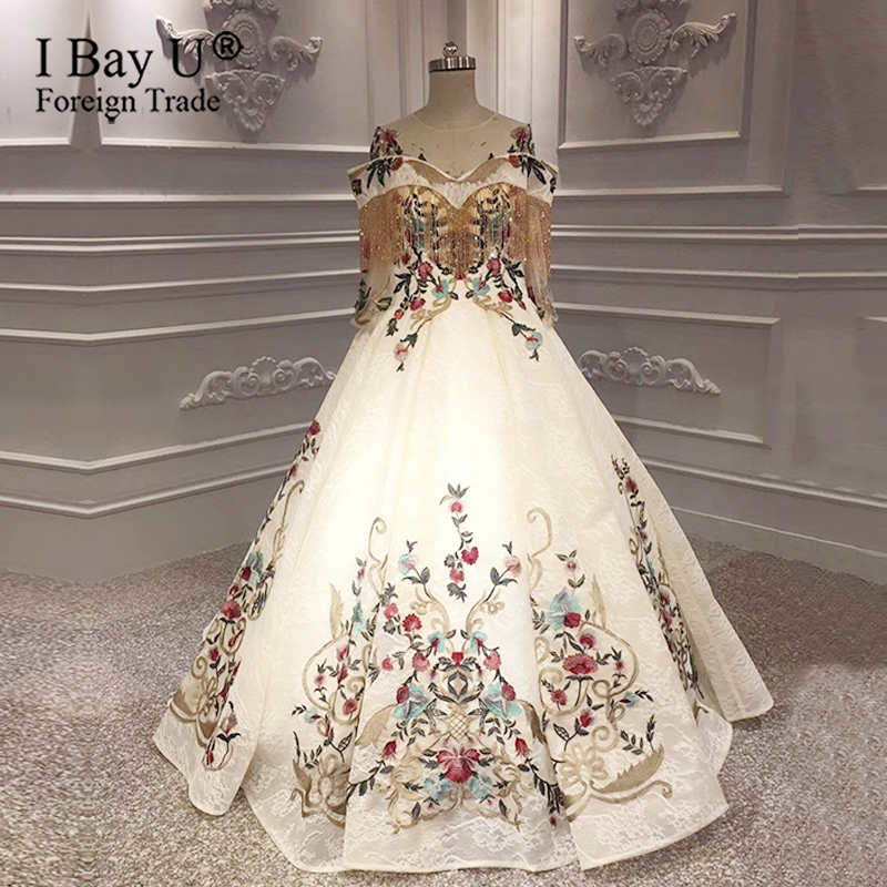 High-end Sexy Vintage Bridal Dress 2020 Luxury Tassel Long Sleeves Embroidery Beading Sexy Fashion Wedding Gown Real Photo