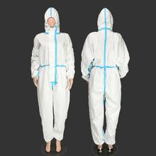White Full Body Safety Protection Dust-proof Overalls Workwear Lab Clothing Long Sleeve Pants Uniform With Zip Closure