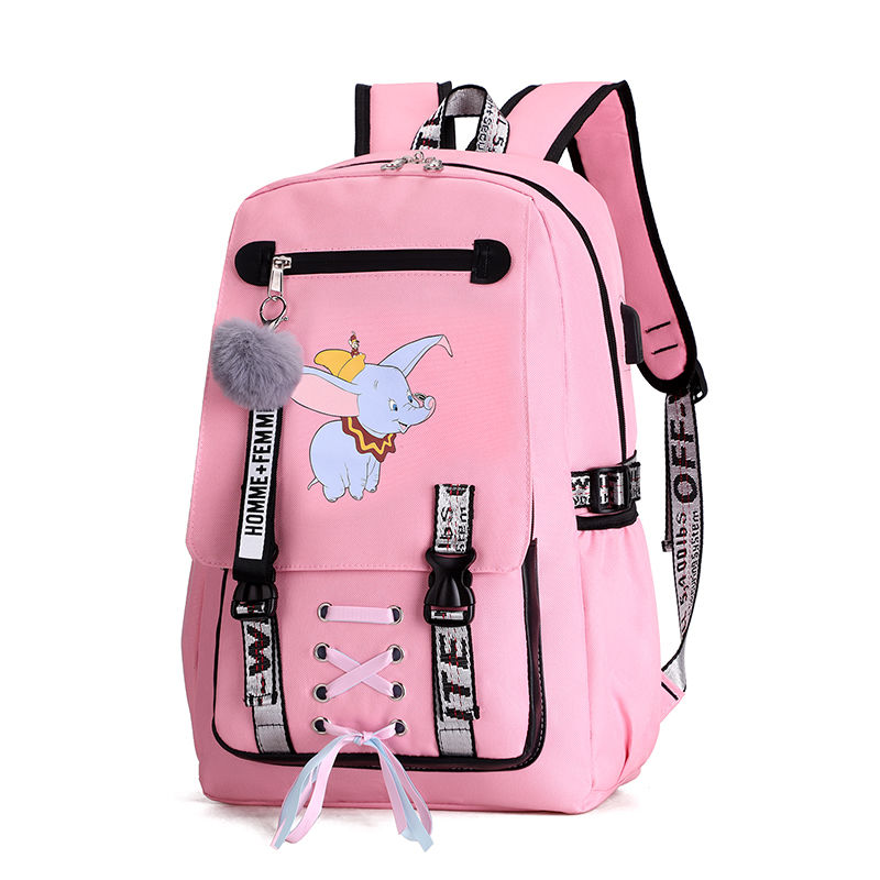 Hot Pink Canvas Backpack For Teenage Girls