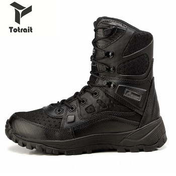 TOtrait Hiking Shoes Winter Snow high quality military Flock Desert boots men tactical combat boots botas work Safety shoes