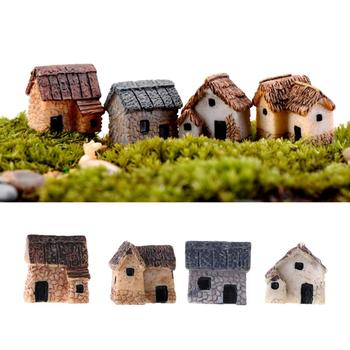 1/4Pcs Micro Landscape Miniature Village Stone House DIY Garden Ornament Decor image