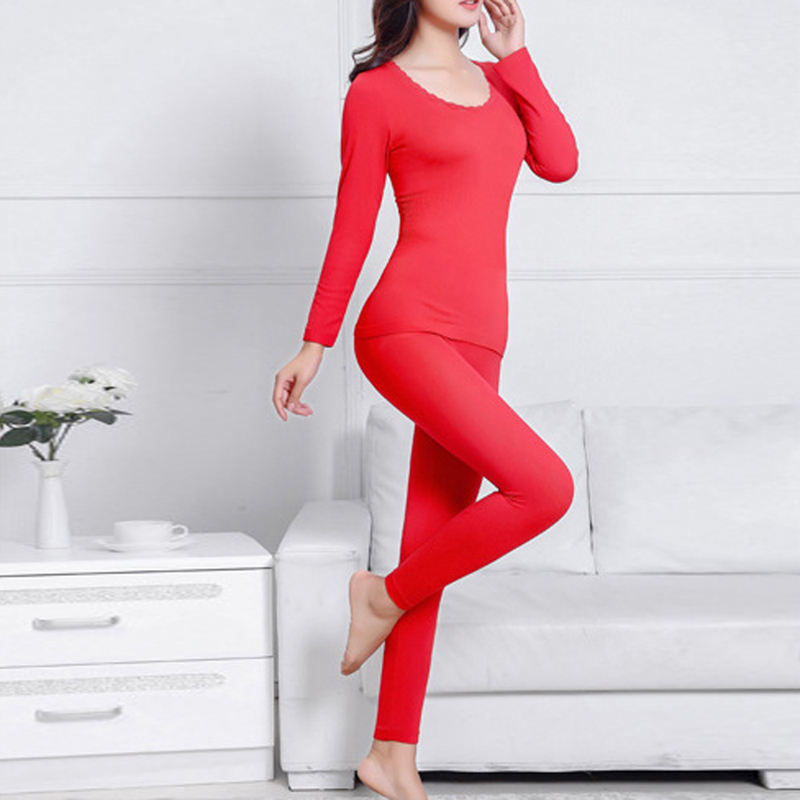 MJARTORIA 2020 Women Female Warm Thermal Underwear Thermal Clothing Woman Winter Solid Color Warm Clothes 11 Colors Shaped Sets